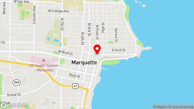Google Map of 104 W. Ridge Ave., Marquette, MI 49855