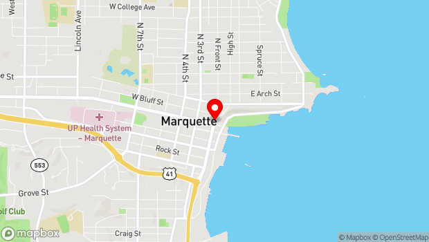 Google Map of 127 North Front St., Marquette, MI 49855