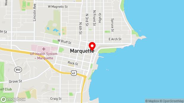 Google Map of 102 Harlow Block, Washington Street, Marquette, MI 49855