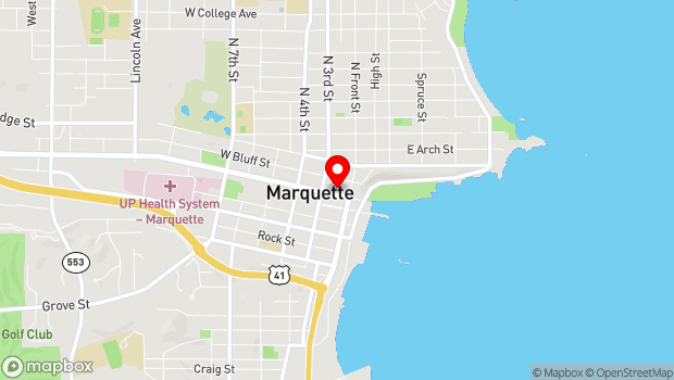 Google Map of 128 W Washington St, Marquette, MI 49855