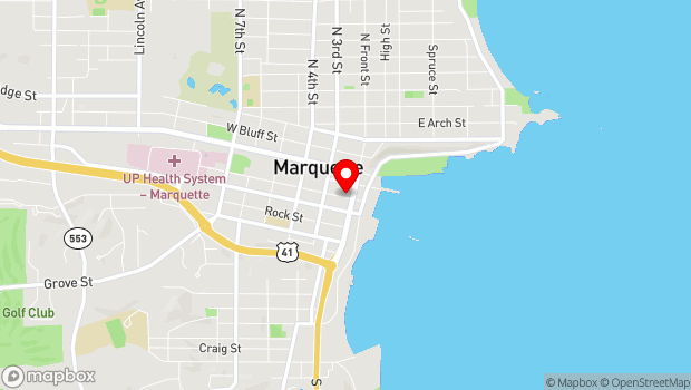 Google Map of 114 W Spring St, Marquette, MI 49855