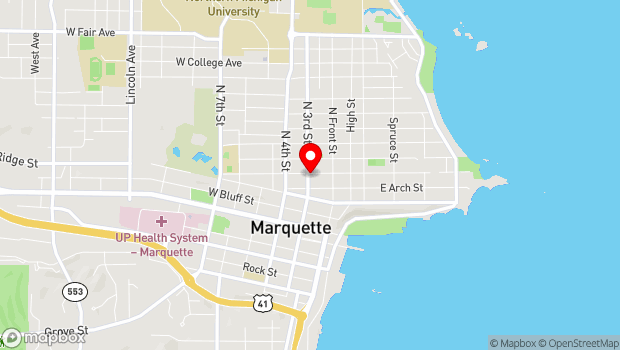 Google Map of 424 N. 3rd Street, Marquette, MI 49855