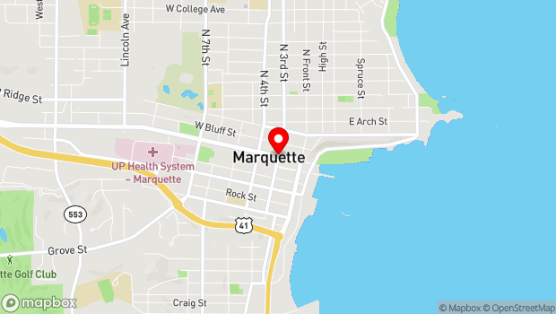 Google Map of 112 S. Third Street, Marquette, MI 49855