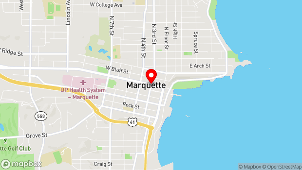 Google Map of 112 South Third Street, Marquette, MI 49855