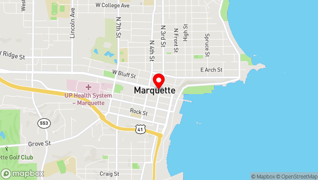 Google Map of 112 South 3rd Street, Marquette, MI 49855