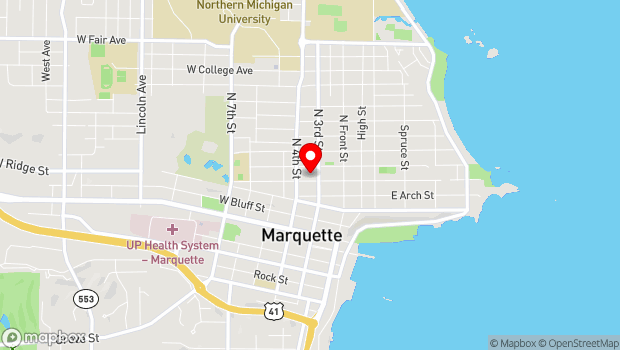 Google Map of Marquette, MI 49855