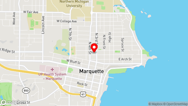 Google Map of 100 West Washington Street , Marquette, MI 49855