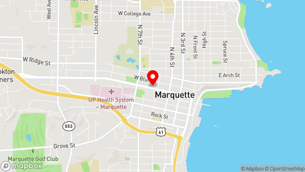 Google Map of 412 W. Washington Street, Marquette, MI 49855