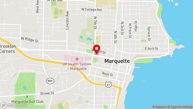 Google Map of 502 W. Washington Street, Marquette, MI 49855