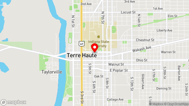 Google Map of 23 N 6th St, Terre Haute, IN 47807