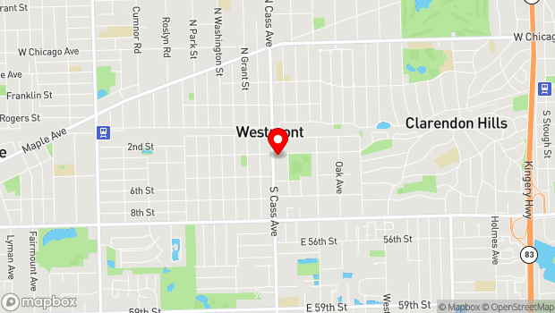 Google Map of 111 S. Cass, Westmont, IL 60559
