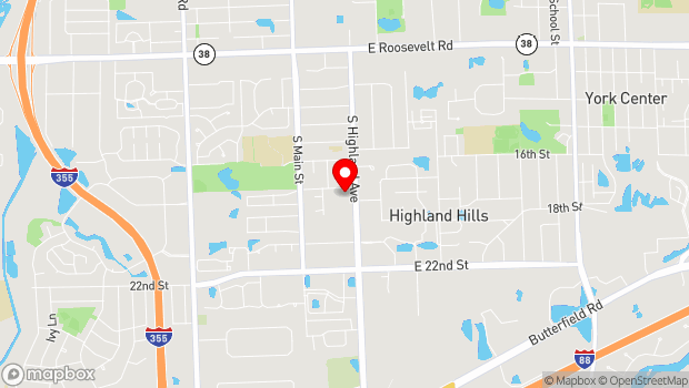 Google Map of 1710 S. Highland Avenue, Lombard, IL 60148