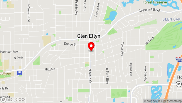 Google Map of 393 N. Main St., Glen Ellyn, IL 60137