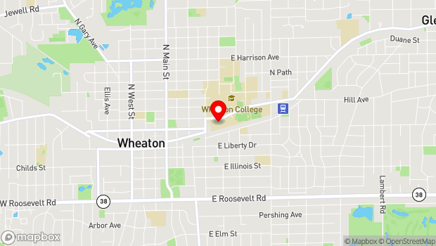 Google Map of Billy Graham Center, 500 College Avenue, Wheaton, IL 60187