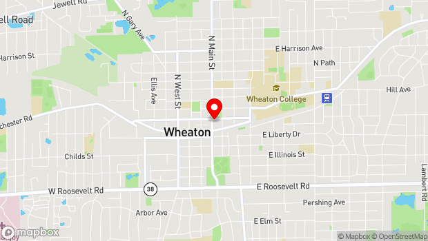 Google Map of 102 E. Wesley Street, Wheaton, IL 60187