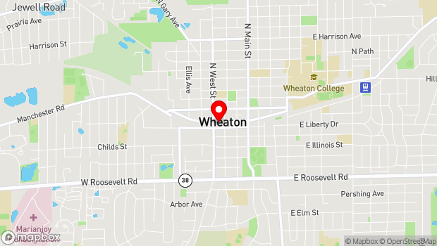 Google Map of 318 W. Front Street, Wheaton, IL 60187