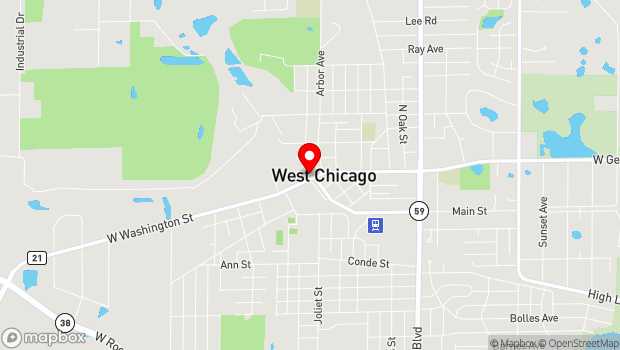 Google Map of 103 West Washington St, West Chicago, IL 60185