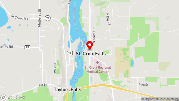 Google Map of 125 N. Washington St, St. Croix Falls, WI 54024