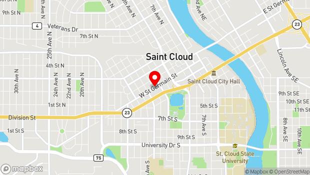 Google Map of 1300 W St. Germain Street, St Cloud, MN 56303