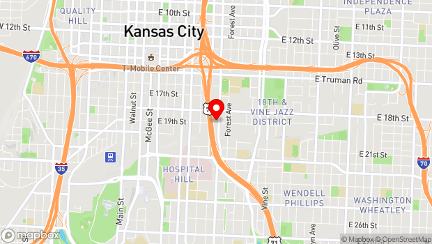 Google Map of 1014 E. 19th St, Kansas City, MO 64108