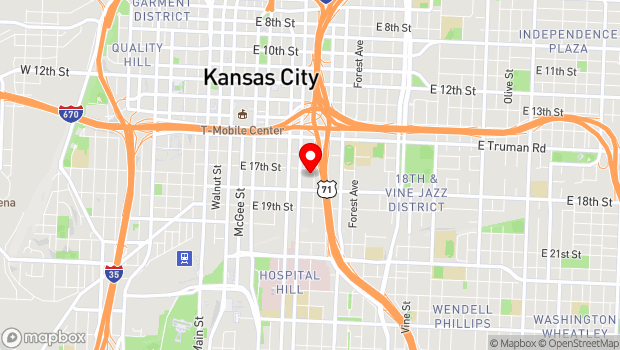 Google Map of 1708 Campbell St, Kansas City, MO 64108