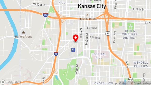 Google Map of 2011 Baltimore Ave, Kansas City, MO 64108