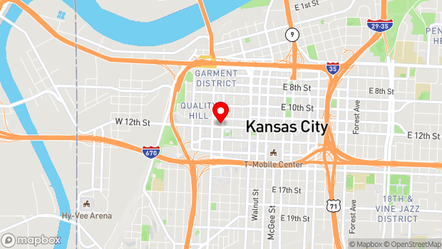 Google Map of 300 W. 12th St, Kansas City, MO 64105