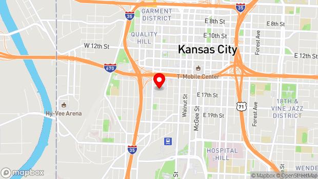 Google Map of 1601 Broadway Blvd., Kansas City, MO 64108