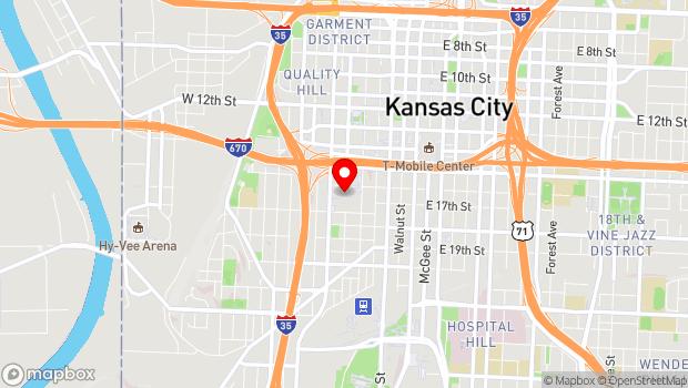 Google Map of 1601 Broadway, Kansas City, MO 64108