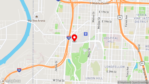 Google Map of 500 W Pershing Road, Kansas City, MO 64108