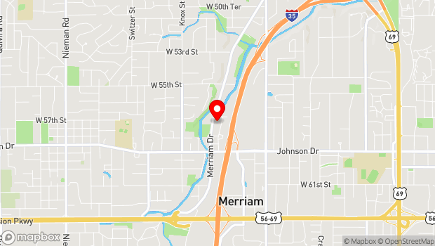Google Map of 5701 Merriam drive, Shawnee, KS 66203
