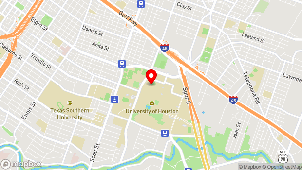 Google Map of School of Theater and Dance Office, 3351 Cullen Blvd., Houston, TX 77204
