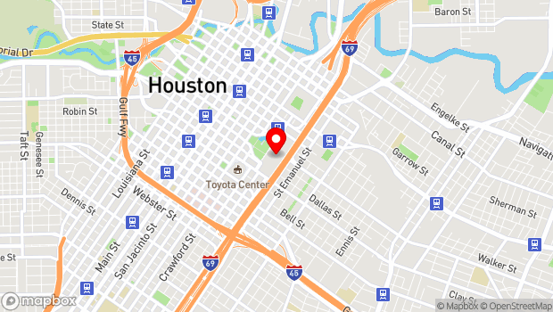 Google Map of 1001 Avenida de las Americas, Houston, TX 77010