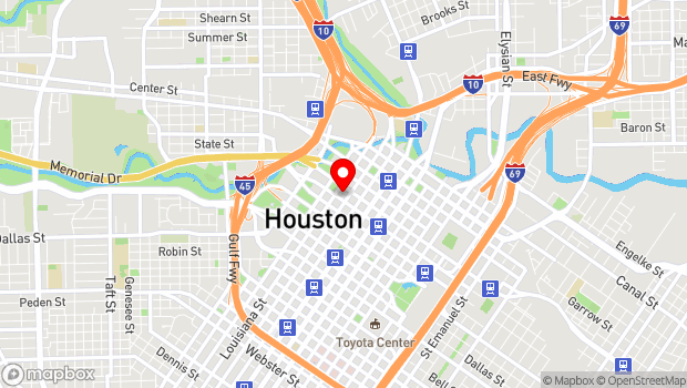 Google Map of 615 Louisiana St., Houston, TX 77002