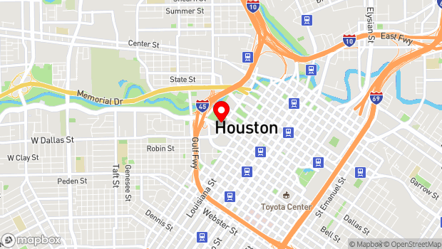 Google Map of 1100 Bagby, Houston, TX 77002
