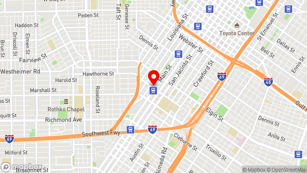 Google Map of 3400 Main St., Houston, TX 77002