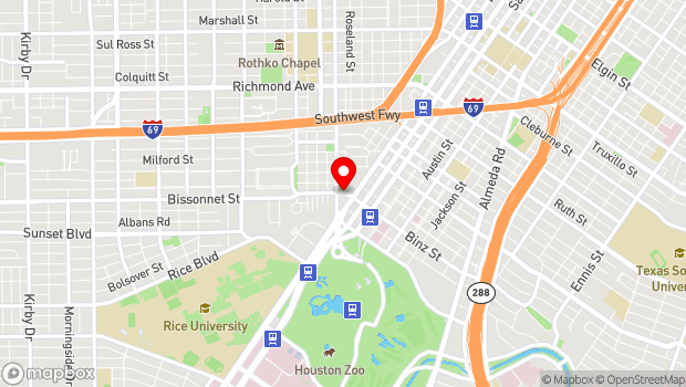 Google Map of 1001 Bissonnet Street, Houston, TX 77006