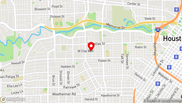Google Map of 1307 W. Clay Street, Houston, Tx 77019
