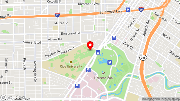 Google Map of Rice University, Houston, TX 77005