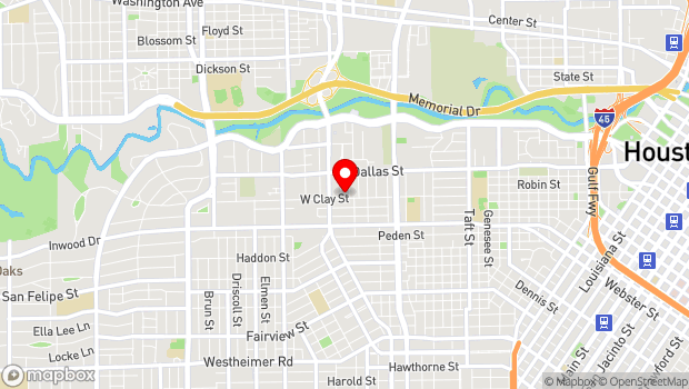 Google Map of 1324 West Clay Street, Houston, TX 77019