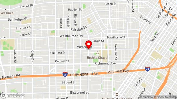 Google Map of 1601 West Alabama @ Mandell, Houston, TX 77006