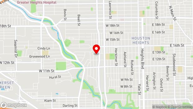 Google Map of 1600 West 13th Street, Houston, TX 77008