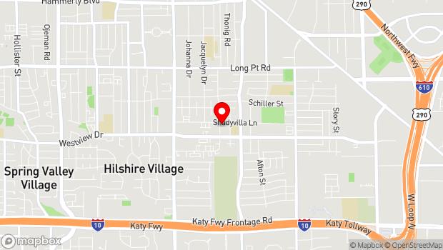 Google Map of 7417 Shadyvilla Lane, Houston, TX 77055