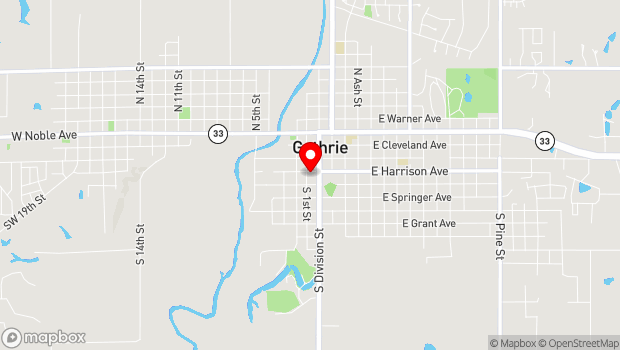 Google Map of 117 W Harrison Ave, Guthrie, OK 73044