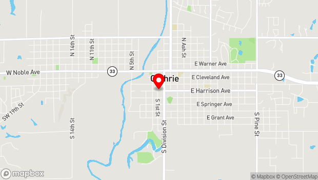 Google Map of 120 West Harrison Avenue Guthrie, Guthrie, OK 73044