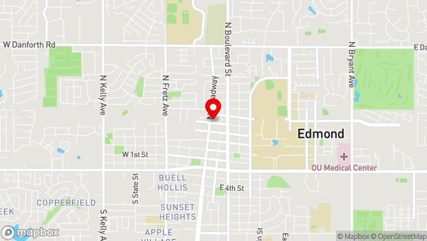 Google Map of 27 E Edwards St, Edmond, OK 73034