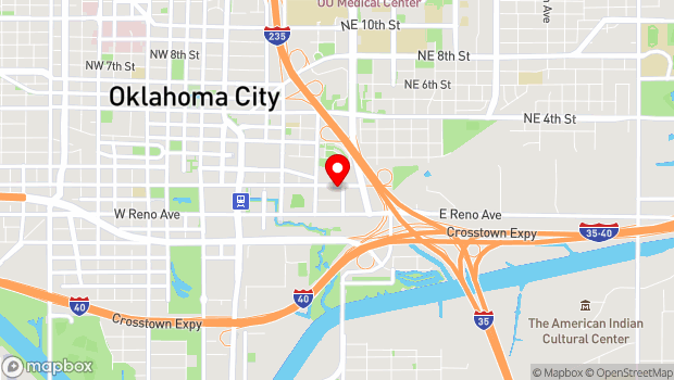 Google Map of 500 E Sheridan Ave, Oklahoma City, OK 73104