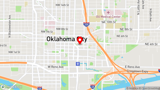 Google Map of 1 NE 3rd St, Oklahoma City, OK 73104