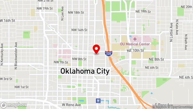 Google Map of 25 NW 9th St., Oklahoma City, OK 73102