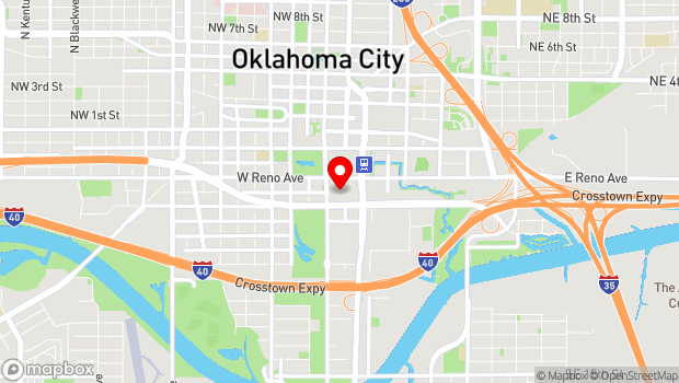 Google Map of 100 W Reno Ave., Oklahoma City, OK 73102